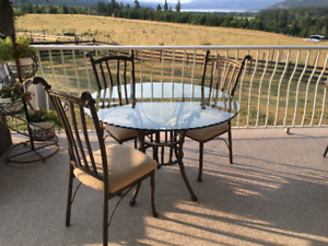 Glass Top dining table with 3 chairs
