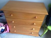 4 drawer Pine chest of drawers-excellent condition