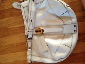 BURBERRY white leather purse