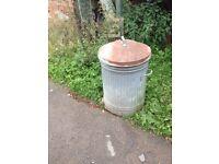 Galvanised metal dustbin