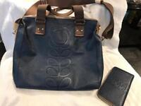 Orla Kiely leather embossed bag and purse