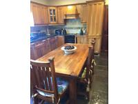 Solid Oak Table and 6 Chairs For Sale