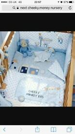 Boys nursery cot bedding and curtains set