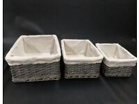 Set of 3 Wicker Storage Baskets (Grey)