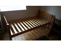 single wooden bed with foam mattress for sale