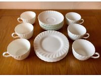 Superb Vintage Retro 1950s-60s Minton Fife White Tea Set & Side Plates