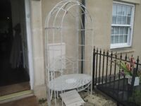 White French Style Outdoor Bench, Gazebo, Chair.