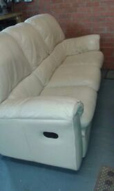 2 and 3 seater cream leather sofas
