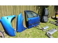 A blue car part