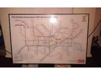FA 150 YEAR ANNIVERSARY TUBE MAP FRAMED POSTER