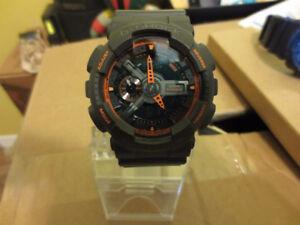 Casio Grey Orange G Shock World Time Chrono Watch 50mm