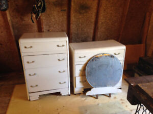 Antique Chest Of Drawers And Sewing Machine