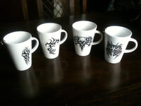 Set of 4 White Tribal Tattoo Mugs with BCR Piercing Details