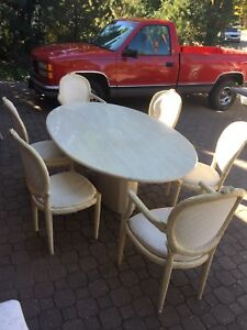 Italian Slab Solid Marble Dining Table & 6 Chairs