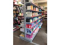 2 units double sided shop display shelves with stands & hooks, front and back £500 each