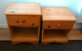 PAIR PINE BEDSIDE CABINETS