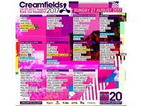 2X SUNDAY STANDARD CREAMFIELDS FESTIVAL TICKEYS