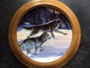 """""""FREE AS THE WIND"""" Wolf Collectible Plate framed & ready to hang"""