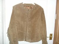 ALMOST NEW Tan Suede Jacket With Fringes - Size 12
