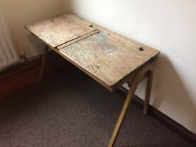 Vintage double school desk with lift up tops for storage.