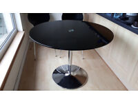 Black glass round dining table & 4 chairs