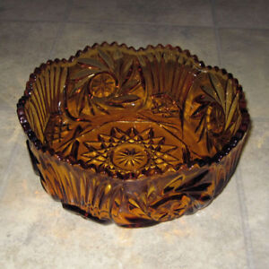 Brown glass serving bowl