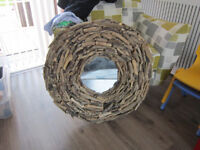 Arts & Crafts Style Large Circular Driftwood Wall Mirror