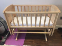Mothercare Deluxe Gliding Crib and mattress
