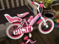 Hello kitty 10 inch bike with stabilisers