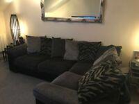 Grey/Black Corner Sofa, Right Hand Facing **Very Good Condition**