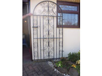 Wrought Iron Gate. Heavy gauge ornamental. Size 190cm X 94cm. With wall brackets and latch.