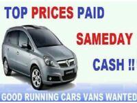 CARS 4x4s MPVs VANS CARAVANS MOTORHOMES ETC WANTED FOR CASH 07514959616