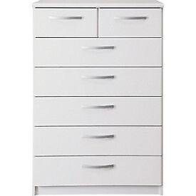 New Hallingford 5+2 Drawer Chest - White