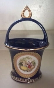 7 1/4 inches Cobalt Blue Hand Painted Porcelain Vase/ Basket