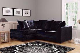 ❤🔥 Black Silver & Champagne 💥❤ Brand New Double Padded Dylan Crush Velvet Corner Sofa Or 3+2 Sofa