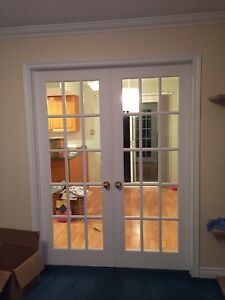 Double white french doors