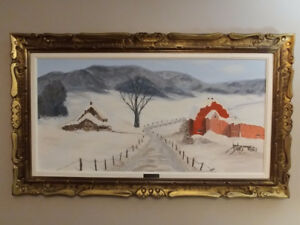 Original Oil On Canvas Called -THE RED BARN- Signed