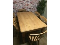 Excellent condition solid pine farmhouse table, 153cm L with 6 solid wood chairs