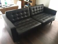 Three-seat LANDSKRONA dark brown leather sofa by IKEA, like new