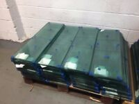Brand new unused quality 10mm clear toughened glass shelves polished all round with square corners