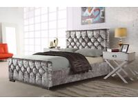 BLACK AND SILVER COLOURS -- BRAND NEW CHESTERFIELD CRUSHED VELVET BED FRAME 4FT6 DOUBLE 5FT KING