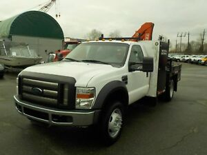 2009 Ford F-550 Regular Cab 4WD Dually Flat Deck with FASSI Cran