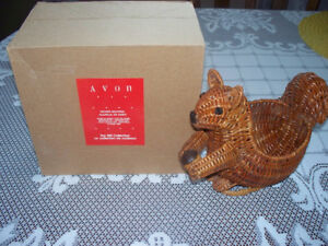 4 Avon Gift Collection Wicker Baskets-squirrel,rooster,shell...