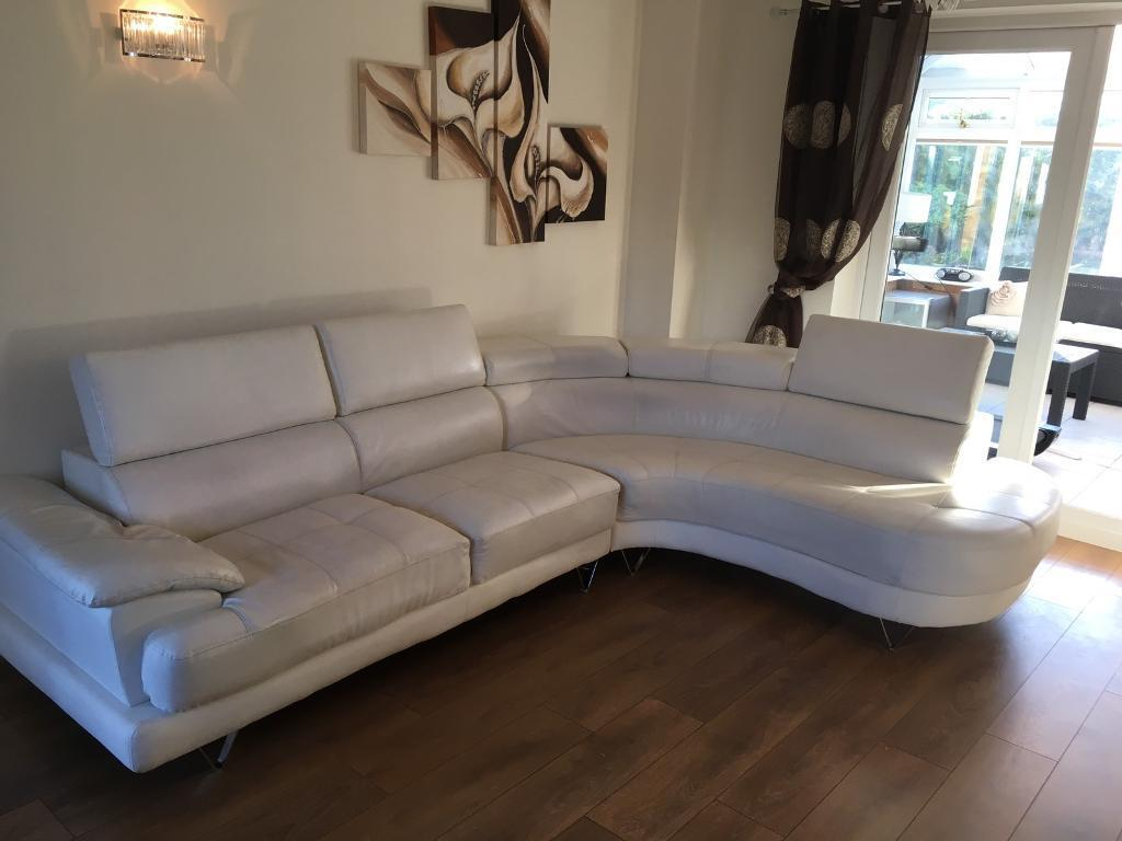 Reduced Modern White Leather Corner Sofa In