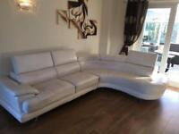 **REDUCED** Modern white leather corner sofa