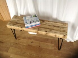 Unique designed reclaimed scaffold board bench with hairpin legs.