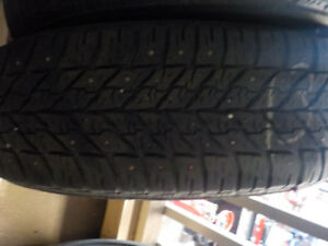 Goodyear studded snow tires on steel wheels