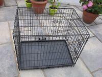 Fold flat metal dog cage