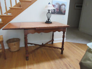 Unique Vintage solid wood table & four chairs Apt. size.