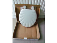 WHITE Toilet seat - Shell moulded wood seat STILL WRAPPED BRAND NEW